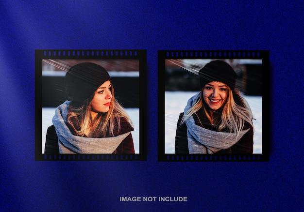 Filmstreifen-fotorahmenmodell mit plastikfolieneffekt premium-psd