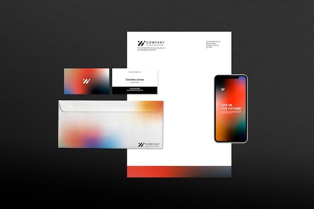 Firmenbriefpapier-set-mockup-psd im modernen stil mit farbverlauf