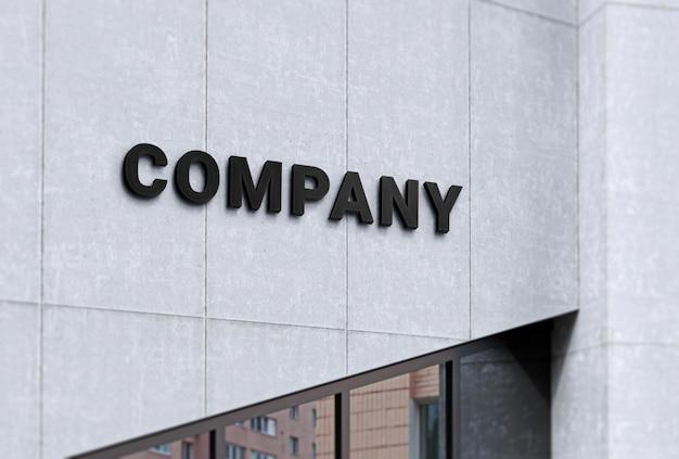 Firmenlogo-mock-up auf betonfassade