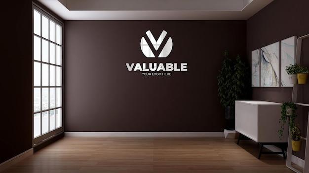 Firmenlogo-modell mit der braunen wand für das branding-logo