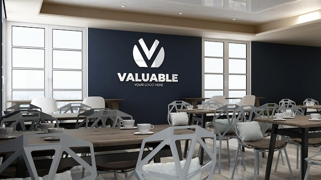Firmenwand-logo-mock-up in der speisekammer des büros