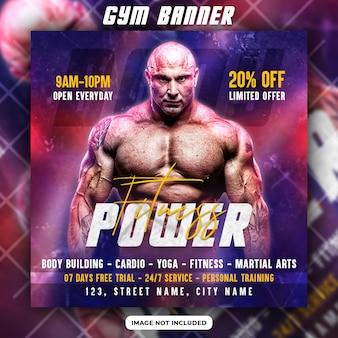Fitness-fitnessstudio-flyer und social-media-post-banner-vorlage