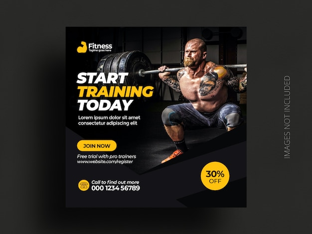 Fitness-fitnessstudio social media post banner quadratische flyer vorlage