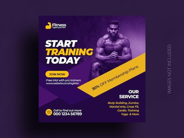 Fitness-fitnessstudio social media post banner quadratische flyer vorlage