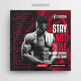 Fitness gym flyer social media post und web banner vorlage