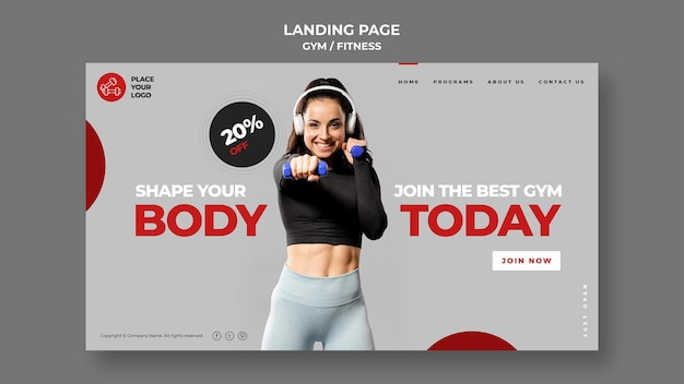 Fitness-konzept landingpage-vorlage