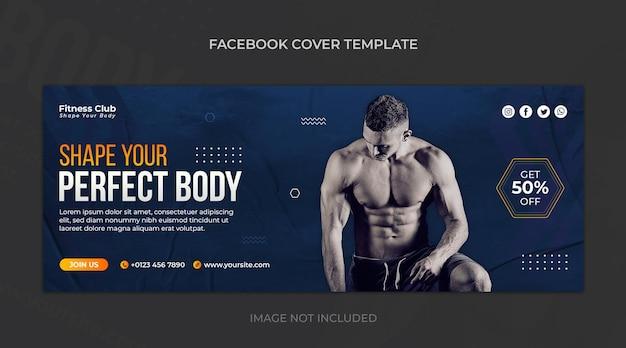 Fitness- oder fitness-studio horizontale banner- oder facebook-cover-design-vorlage