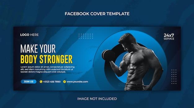 Fitness- oder fitnessstudio horizontale banner- oder facebook-cover-design-vorlage