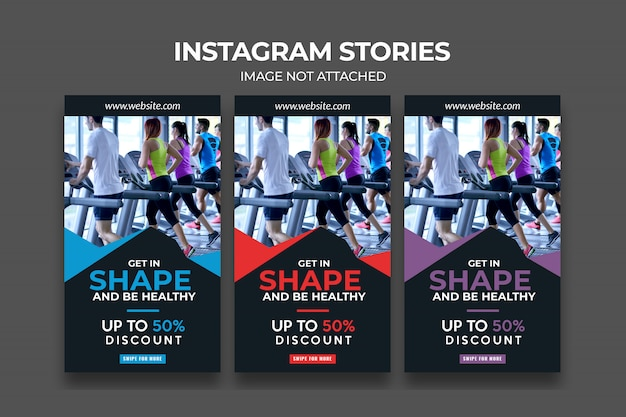 Fitness premium instagram story-vorlage für fitnessstudio