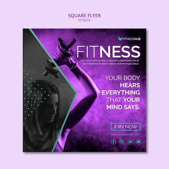 Fitness quadratische flyer vorlage