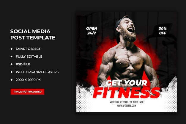 Fitness-social-media-post und web-banner