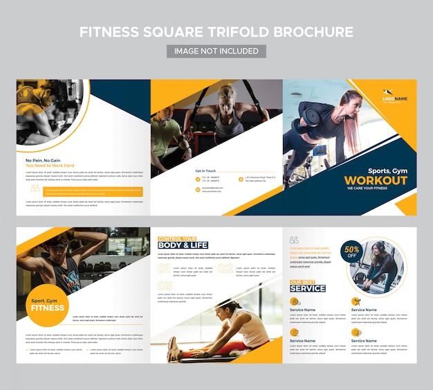 Fitness square trifold broschüren vorlage