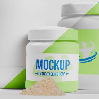 Fitness-stimulanzien-pulver im plastikbehälter