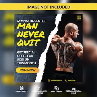 Fitness-studio-mitglied offene mitglieder registrierung bieten social media beitrag vorlage banner