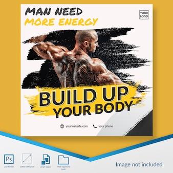 Fitness-studio-mitglied offenes mitglied registrierung bieten social media beitrag vorlage banner