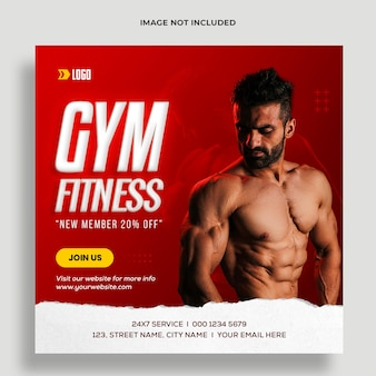 Fitness-studio-social-media-post und web-banner-vorlage premium psd