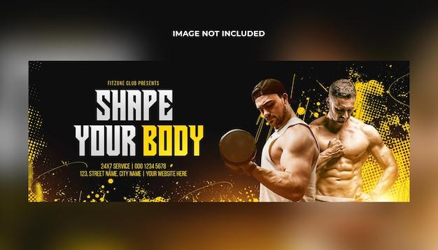 Fitness-studio-training facebook-cover und web-banner-psd-vorlage