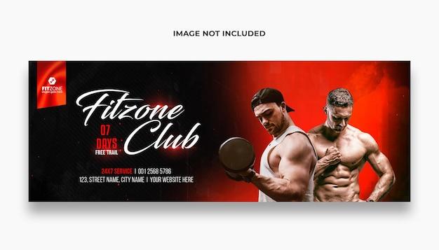 Fitness-studio-training facebook-cover und web-banner-vorlage premium psd