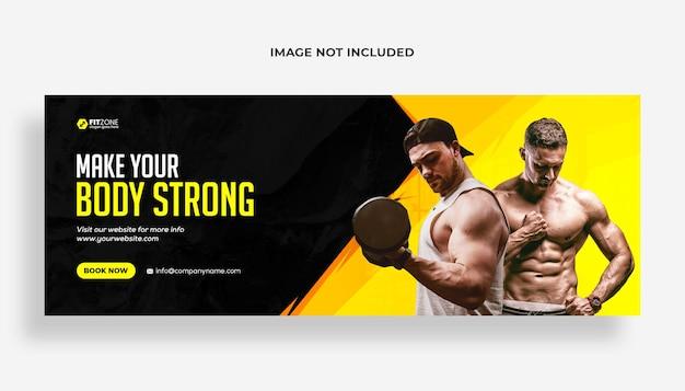 Fitness-studio-training facebook-cover und web-banner-vorlage