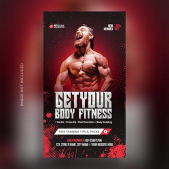 Fitness-studio-training instagram-post und web-banner-psd-vorlage