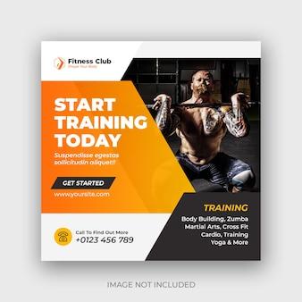 Fitness-studio und fitness-instagram-banner oder social-media-post-vorlage