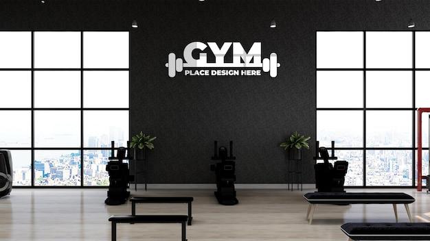 Fitness-studio-wand-logo-mockup im sportler-fitness- oder fitnessraum mit schwarzer wand