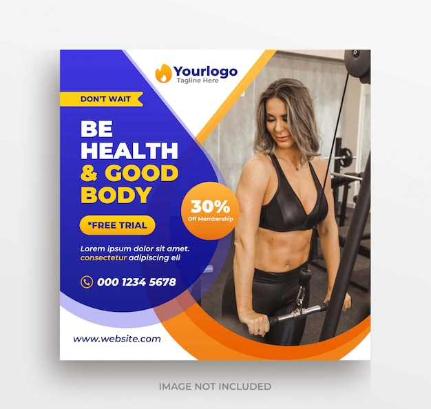 Fitness-training banner instagram post oder quadratische flyer vorlage