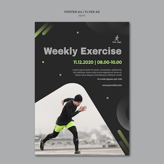 Fitness-trainingsschablonenplakat