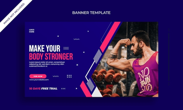 Fitness- und fitness-web-banner oder social-media-post-vorlage