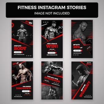 Fitness und fitnessstudio instagram geschichten banner vorlagen