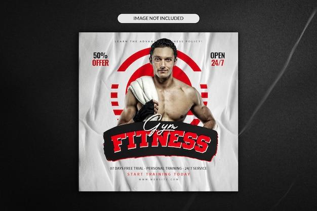 Fitness- und fitnessstudio-social-media-instagram-post und quadratische flyer-vorlage