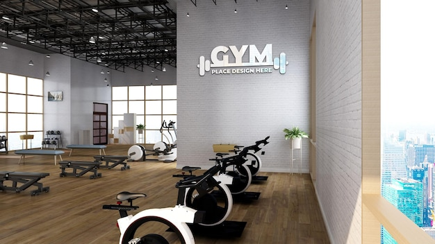 Fitness-wand-logo-mockup im fitnessraum