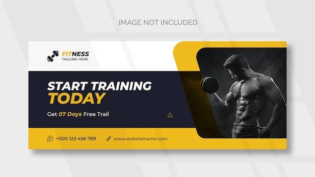 Fitness-webbanner oder social-media-cover-vorlage