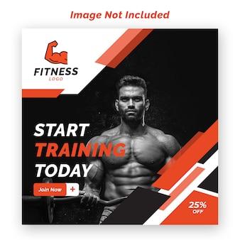 Fitnessraum und fitness-instagram banner-vorlage