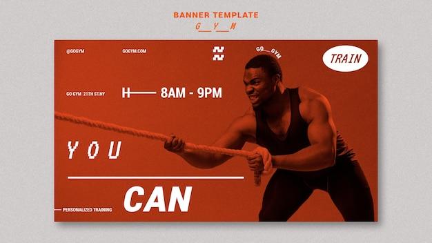 Fitnessstudio-banner-vorlage mit foto