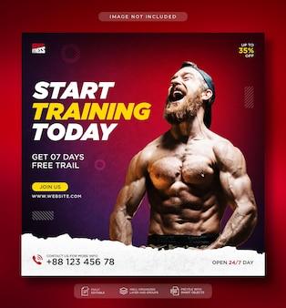 Fitnessstudio und fitness instagram-post oder social-media-webbanner-vorlage