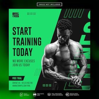 Fitnessstudio und fitness instagram-werbestudio-social-media-post oder web-banner-vorlage