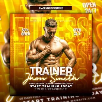 Fitnessstudio und fitness-social-media-post-banner oder quadratische flyer-vorlage