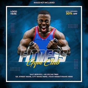 Fitnessstudio und fitness-werbe-social-media-posting-instagram-banner oder quadratische flyer-vorlage