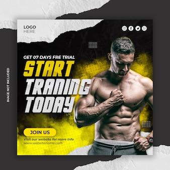 Fitnesstraining und social-media-instagram-post im fitnessstudio oder quadratische webbanner-vorlage