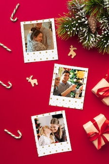 Flach lag glückliche familienfotos zu weihnachten