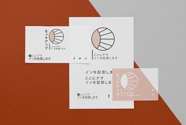 Flach lag verschiedene japanische mock-up-dokument