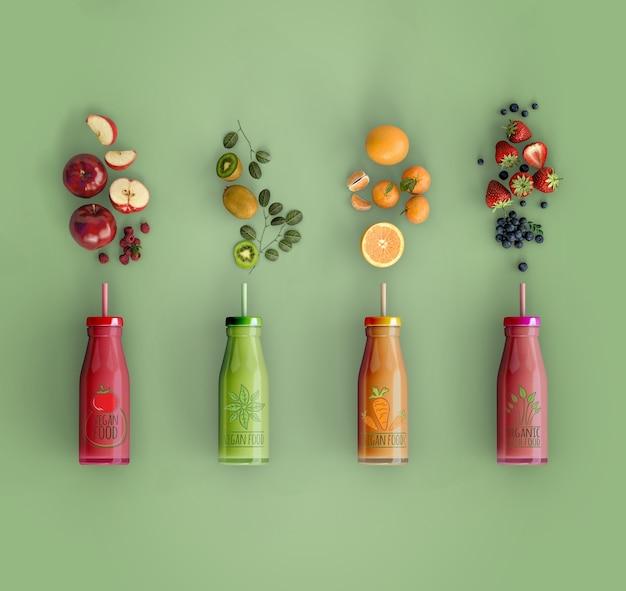 Flach liegende smoothies mit leckerem früchte-mock-up