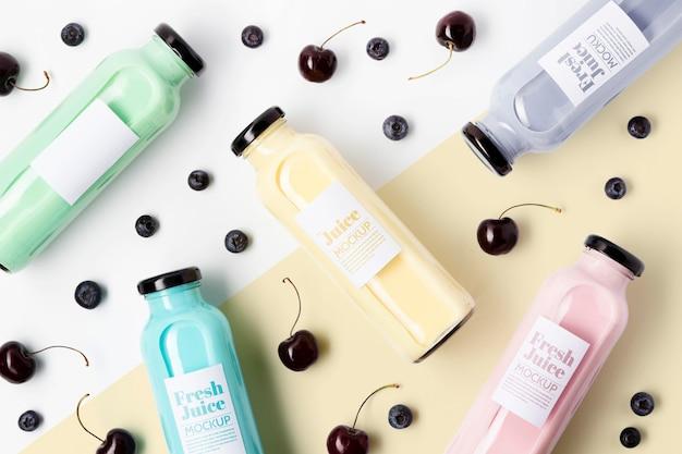 Flache anordnung köstlicher antioxidativer smoothies