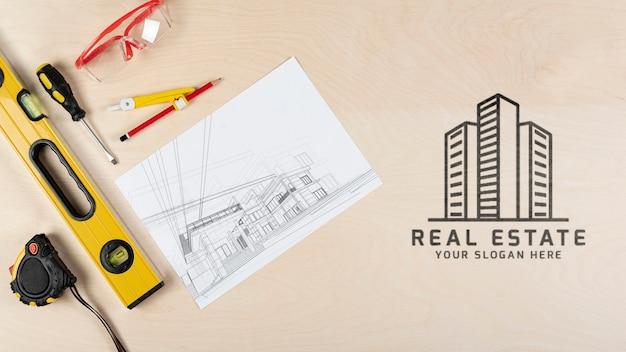Flache ansicht briefpapierelemente für immobilien