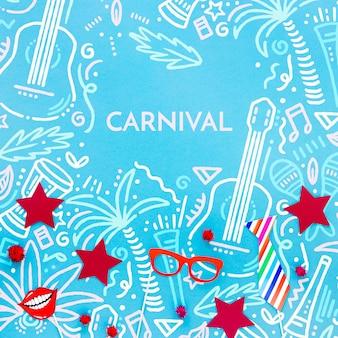Flache lage der brasilianischen karnevalsdekorationen