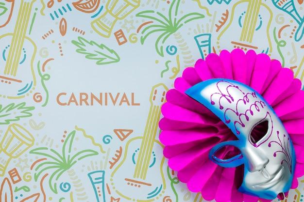 Flache lage der brasilianischen karnevalsmaske