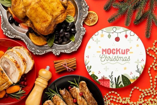 Flache lage des köstlichen weihnachtsessenmodells