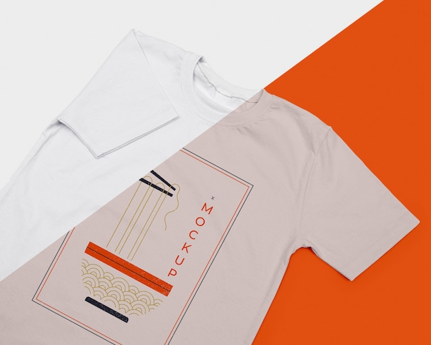 Flache lage des t-shirt-konzept-modells