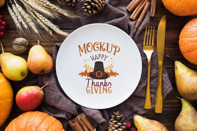 Flache lage des thanksgiving-concepty-modells